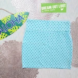 Selena Gomez Casual Mini Skirt Polkadots Blue